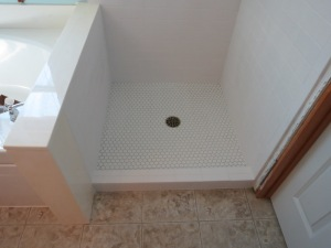 Octagon mosaic floor tile.